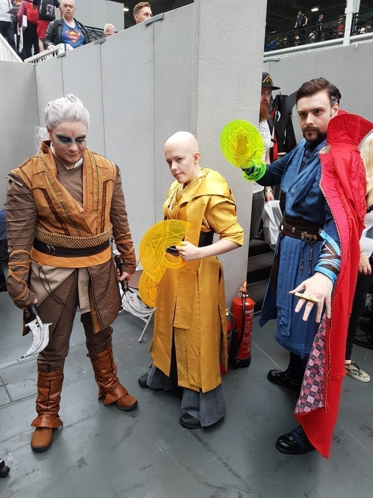 [6] Leon Harris, 'Red', and Scott Harris as Kaecillius, The Ancient One, and Dr. Strange